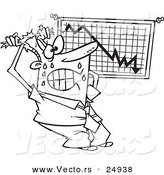 Vector of a Cartoon Stressed Businessman Viewing a Recession Chart - Outlined Coloring Page by Toonaday
