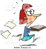 Vector of a Cartoon Stressed Businesswoman Running with Late Files by Ron Leishman