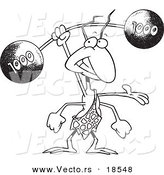 Vector of a Cartoon Strong Ant Lifting a Barbell - Outlined Coloring Page by Toonaday