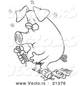 Vector of a Cartoon Stuffed Pig Eating Junk Food - Outlined Coloring Page by Toonaday