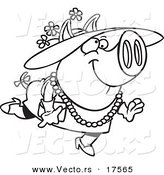 Vector of a Cartoon Stylish Pig Wearing a Hat - Coloring Page Outline by Toonaday