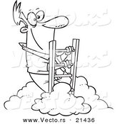 Vector of a Cartoon Successful Businessman Climbing Above the Clouds - Outlined Coloring Page by Toonaday