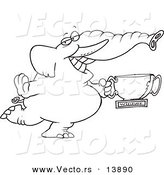 Vector of a Cartoon Successful Elephant Holding a Trophy Cup - Coloring Page Outline by Ron Leishman