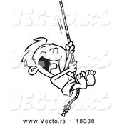Vector of a Cartoon Summer Boy on a Rope Swing - Outlined Coloring Page by Toonaday