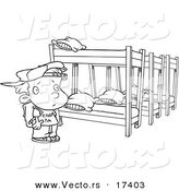 Vector of a Cartoon Summer Camp Boy Looking at Bunk Beds - Coloring Page Outline by Toonaday