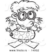 Vector of a Cartoon Summer Girl over Prepared for Swimming - Coloring Page Outline by Ron Leishman
