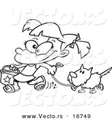 Vector of a Cartoon Summer Girl Walking Her Dog on the Beach - Coloring Page Outline by Ron Leishman