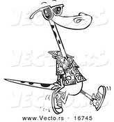 Vector of a Cartoon Summer Lizard Walking on a Beach - Coloring Page Outline by Ron Leishman