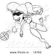 Vector of a Cartoon Summer Woman Playing Beach Volleyball - Coloring Page Outline by Ron Leishman