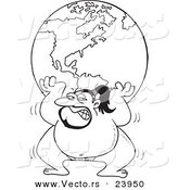 Vector of a Cartoon Sumo Wrestler Lifting the Globe - Coloring Page Outline by Toonaday