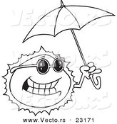 Vector of a Cartoon Sun Holding an Umbrella - Coloring Page Outline by Ron Leishman