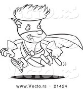 Vector of a Cartoon Super Boy Running - Outlined Coloring Page by Toonaday