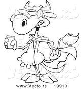 Vector of a Cartoon Super Cow Holding a Glass of Milk - Outlined Coloring Page by Toonaday