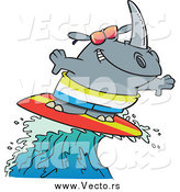 Vector of a Cartoon Surfer Rhino Riding a Wave by Toonaday