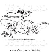 Vector of a Cartoon Surfing Lizard - Outlined Coloring Page by Ron Leishman