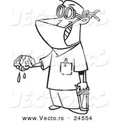 Vector of a Cartoon Surgeon Holding a Brain out - Outlined Coloring Page by Toonaday