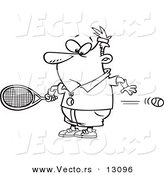 Vector of a Cartoon Surprised Man Watching a Fast Tennis Ball Fly Through His Belly - Outlined Coloring Page by Toonaday
