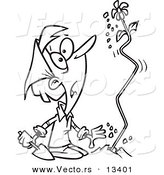 Vector of a Cartoon Surprised Woman Watching a Flower Shoot out of the Ground - Coloring Page Outline by Ron Leishman