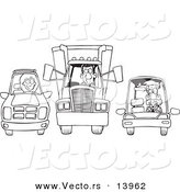 Vector of a Cartoon SUV, Big Rig and Car at a Stop Light - Coloring Page Outline by Toonaday