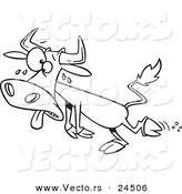 Vector of a Cartoon Sweating Hot Cow - Outlined Coloring Page by Ron Leishman