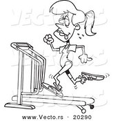Vector of a Cartoon Sweaty Woman Running on a Treadmill - Coloring Page Outline by Toonaday