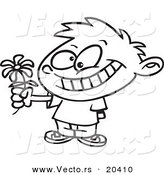 Vector of a Cartoon Sweet Boy Giving a Daisy - Coloring Page Outline by Toonaday