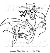 Vector of a Cartoon Swinging Swashbuckler - Coloring Page Outline by Toonaday