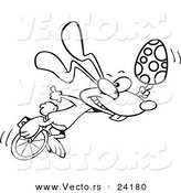 Vector of a Cartoon Talented Easter Bunny with an Egg on a Unicycle - Coloring Page Outline by Toonaday