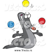 February 24th, 2015: Vector of a Cartoon Talented Juggling Seal by Toonaday