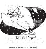 Vector of a Cartoon Taurus Bull over a Black Starry Oval - Coloring Page Outline by Toonaday