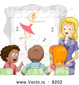 Vector of a Cartoon Teacher Showing a Ballet Movie to Her Classroom Students by BNP Design Studio