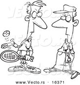 Vector of a Cartoon Tennis Player Glaring at a Golfer - Outlined Coloring Page Drawing by Toonaday
