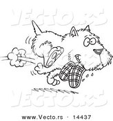 Vector of a Cartoon Terrier Dog Stealing Slippers - Coloring Page Outline by Toonaday