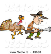 Vector of a Cartoon Thanksgiving Turkey Stalking a Pilgrim Hunter with a Gun by LaffToon