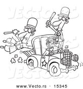 Vector of a Cartoon Thief Stealing a Police Car - Coloring Page Outline by Toonaday