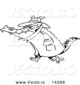 Vector of a Cartoon Thug Crocodile in a Hat and Coat - Coloring Page Outline by Toonaday
