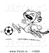 Vector of a Cartoon Tiger Playing Soccer - Coloring Page Outline by Ron Leishman