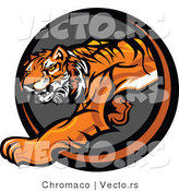 Vector of a Cartoon Tiger Stalking Icon by Chromaco