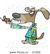 Vector of a Cartoon Tired Dog Brushing His Teeth by Toonaday