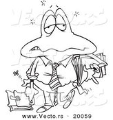 Vector of a Cartoon Tired Frog Businessman - Outlined Coloring Page by Toonaday