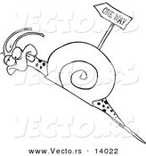 Vector of a Cartoon Tired Snail Going Uphill near a One Way Sign - Coloring Page Outline by Toonaday