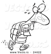 Vector of a Cartoon Tired Tortoise Walking in a Race - Outlined Coloring Page by Ron Leishman