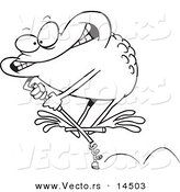 Vector of a Cartoon Toad on a Leap Stick - Coloring Page Outline by Toonaday