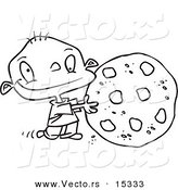 Vector of a Cartoon Toddler Rolling a Large Chocolate Chip Cookie - Coloring Page Outline by Toonaday