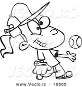 Vector of a Cartoon Tomboy Girl Tossing and Catching a Baseball - Outlined Coloring Page Drawing by Ron Leishman