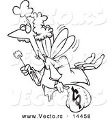 Vector of a Cartoon Tooth Fairy with a Wand and Bag of Money - Coloring Page Outline by Toonaday