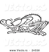 Vector of a Cartoon Toothy Spider - Outlined Coloring Page by Ron Leishman