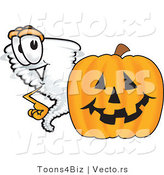 Vector of a Cartoon Tornado Mascot Beside a Halloween Pumpkin by Toons4Biz