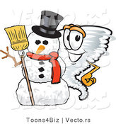 Vector of a Cartoon Tornado Mascot Beside a Snowman by Toons4Biz