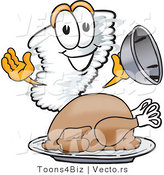 Vector of a Cartoon Tornado Mascot Beside a Thanksgiving Turkey by Toons4Biz